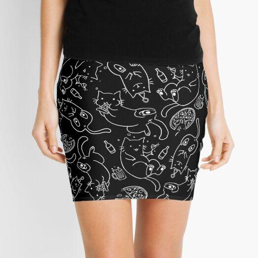 Cat Party (White on Black) Mini Skirt