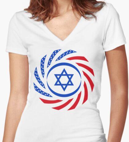 Israeli American Multinational Patriot Flag  Fitted V-Neck T-Shirt