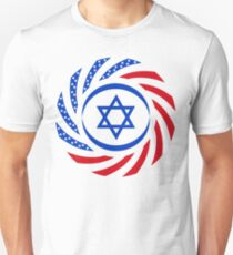 Israeli American Multinational Patriot Flag  Slim Fit T-Shirt