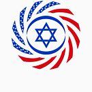 Israeli American Multinational Patriot Flag  by Carbon-Fibre Media