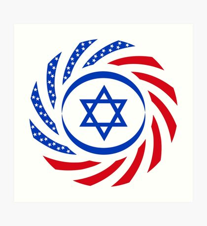 Israeli American Multinational Patriot Flag  Art Print