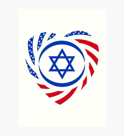 Israeli American Multinational Patriot Flag (Heart) Art Print