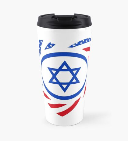 Israeli American Multinational Patriot Flag (Heart) Travel Mug