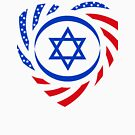 Israeli American Multinational Patriot Flag (Heart) by Carbon-Fibre Media