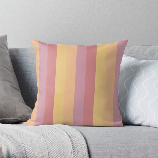 Stipe Pattern Spring Pink and Yellow Colours Throw Pillow