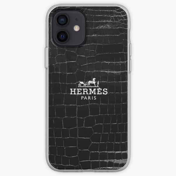 hermes smooth black crocodile porosus iPhone Soft Case