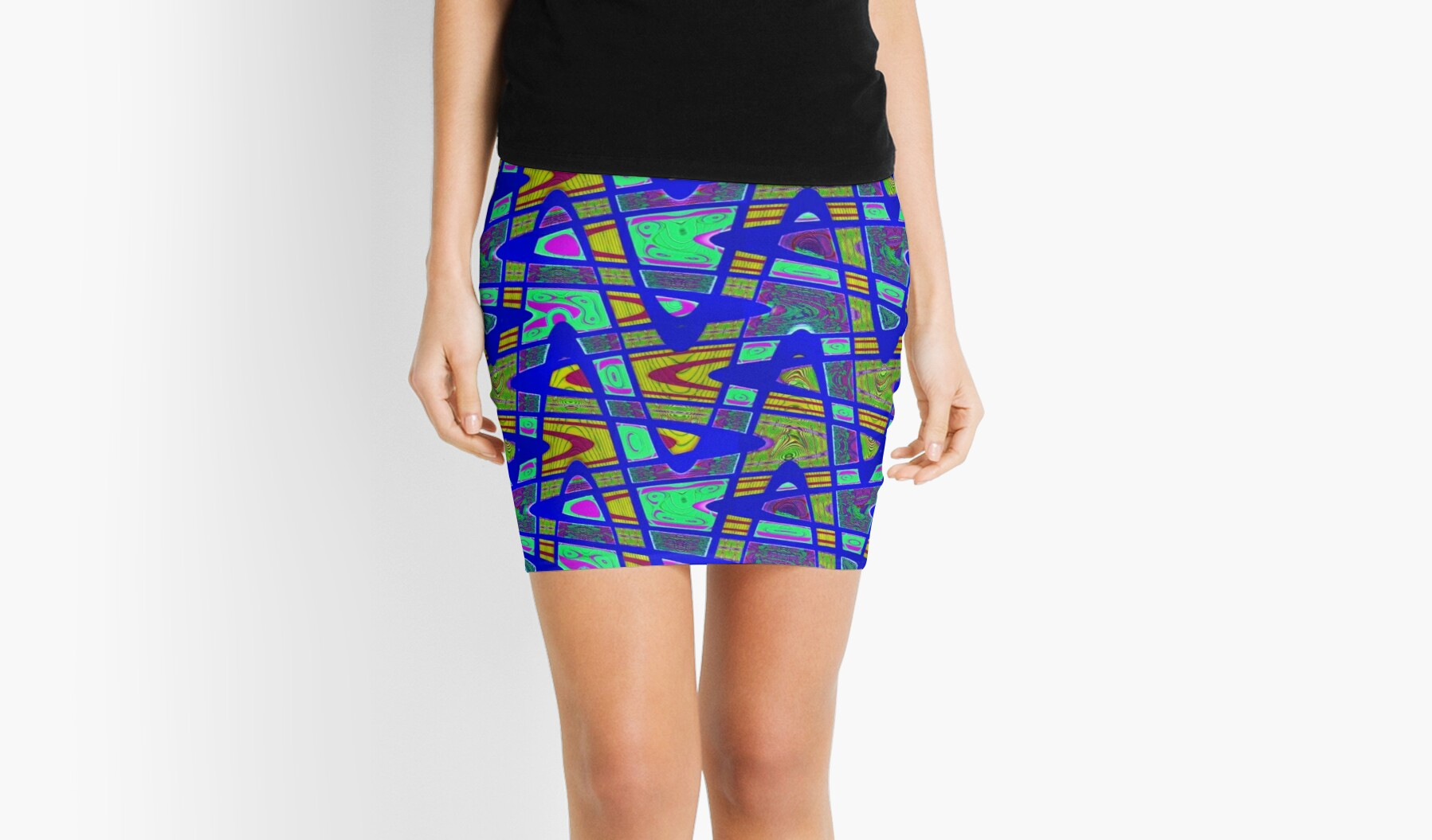 Bright Blue Yellow Abstract ZigZag by donnagrayson