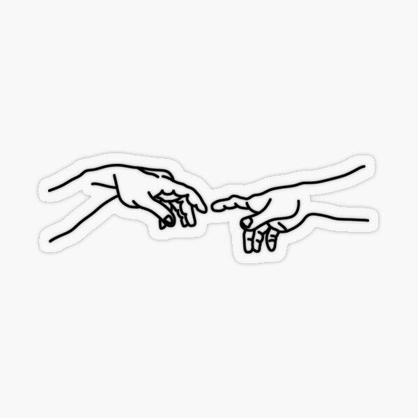 Michelangelo hands line art Transparent Sticker