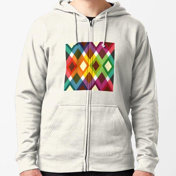 Geometric Pattern 19 (coloful diamonds) Zipped Hoodie