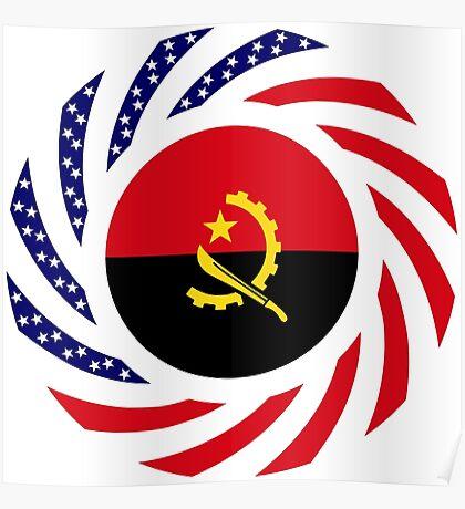 Angolan American Multinational Patriot Flag Poster