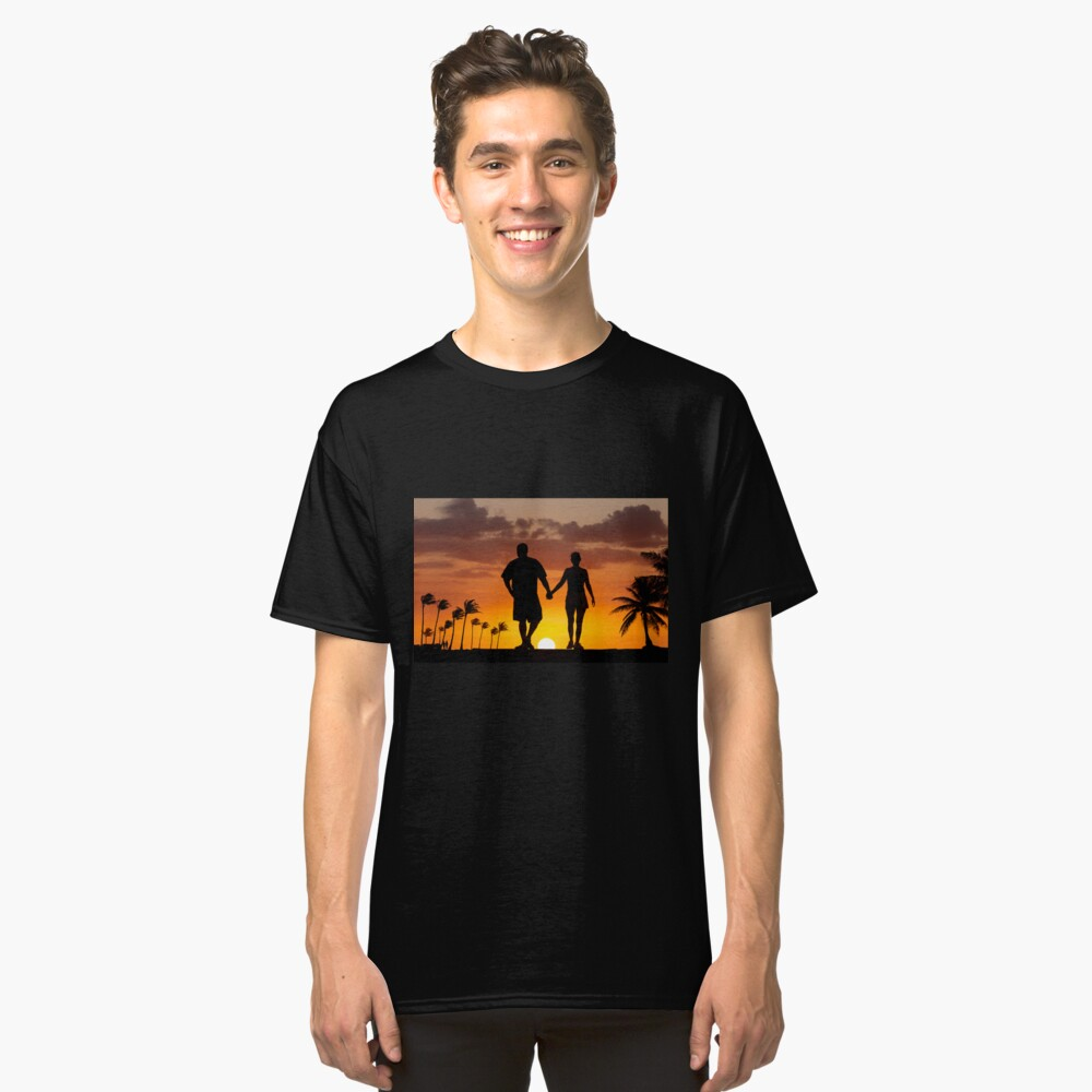 Walking into the sunset Classic T-Shirt Front