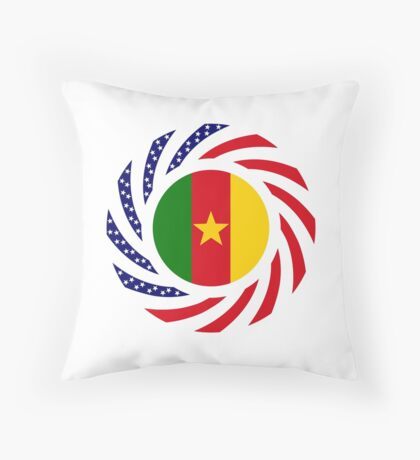 Cameroon American Multinational Patriot Flag Series 1.0 Throw Pillow