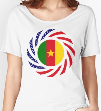 Cameroon American Multinational Patriot Flag Series 1.0 Relaxed Fit T-Shirt