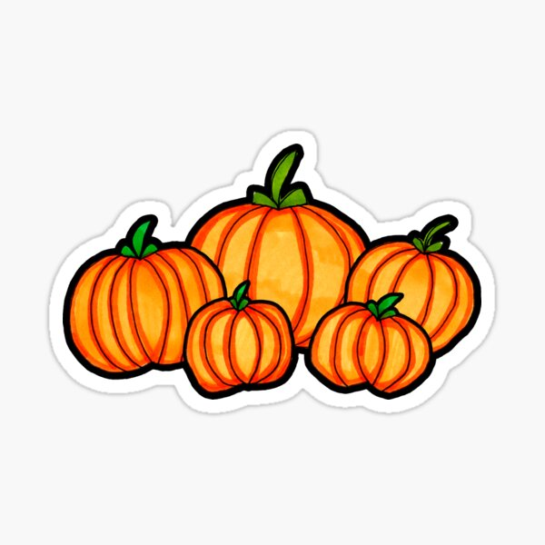 Pumpkin Patch Autumn Halloween Illustration Sticker