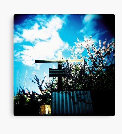Cross and blossoms Canvas Print
