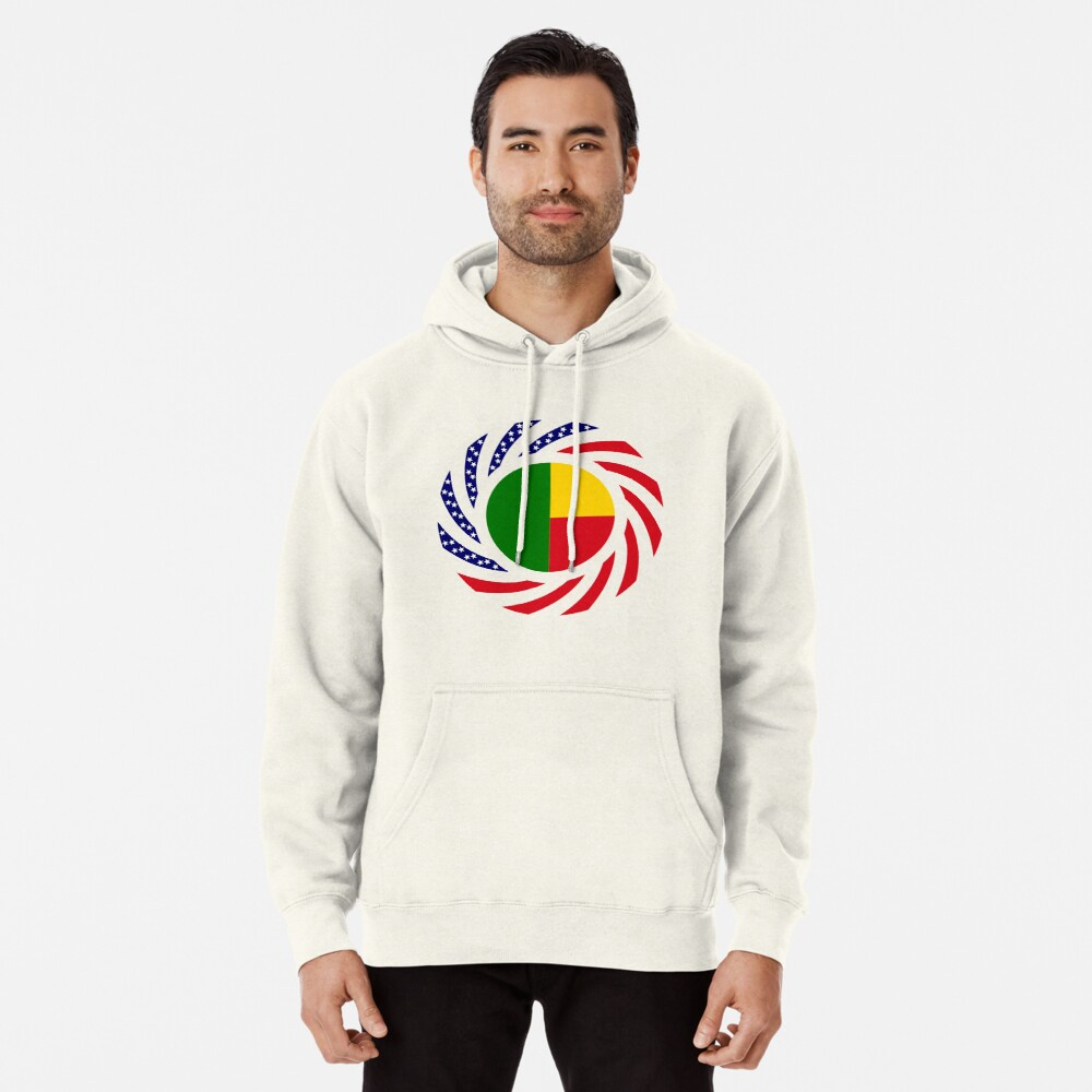 Benin American Multinational Patriot Flag Series Pullover Hoodie