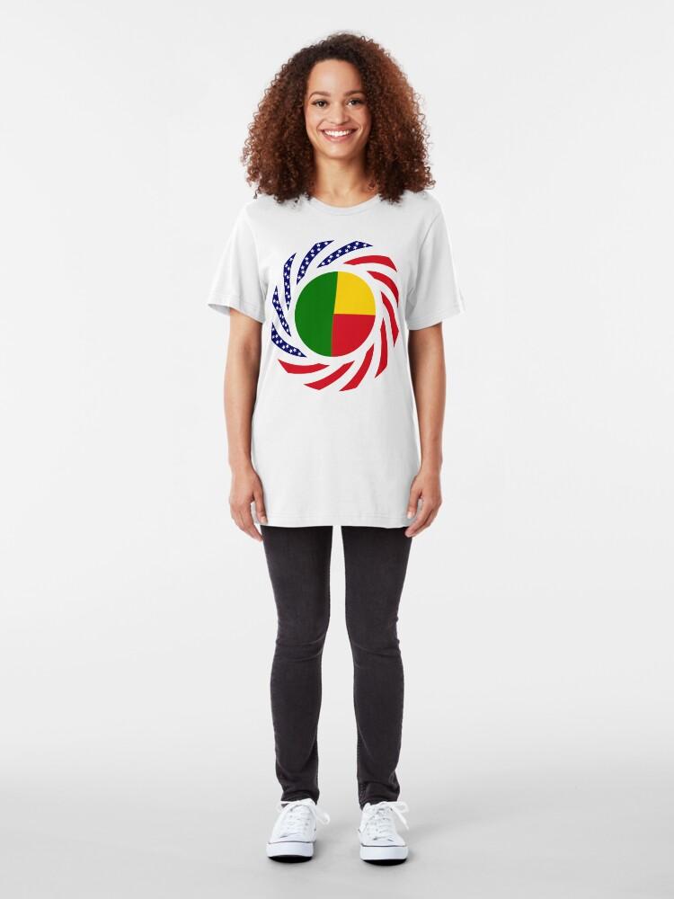 Alternate view of Benin American Multinational Patriot Flag Series Slim Fit T-Shirt