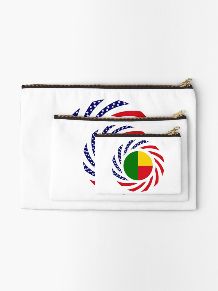 Alternate view of Benin American Multinational Patriot Flag Series Zipper Pouch