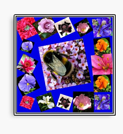 Honey Bee and Summer Flowers Collage Leinwanddruck