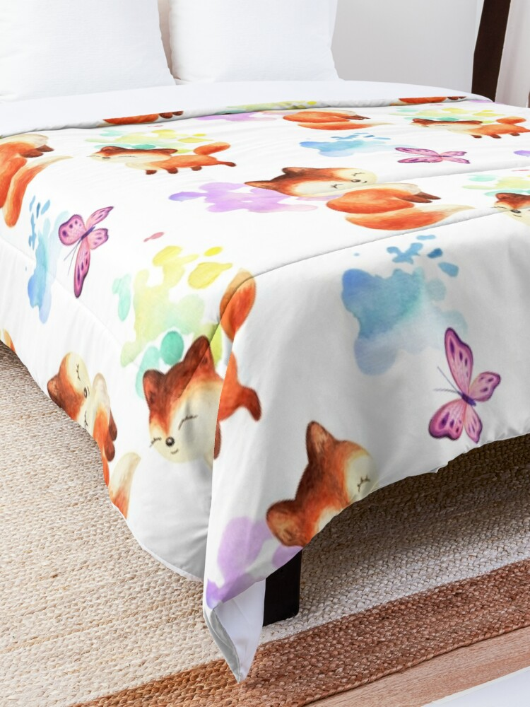 Alternate view of  Beautiful Foxes and Butterflies Seamless Patterns  Comforter