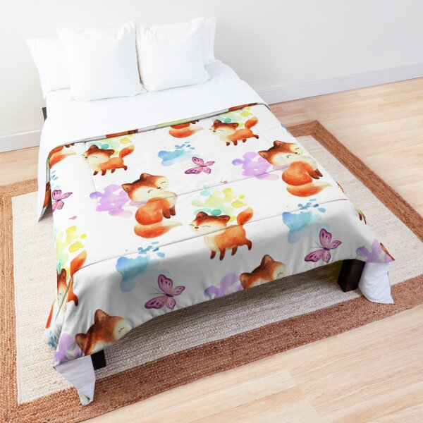 Beautiful Foxes and Butterflies Seamless Patterns  Comforter