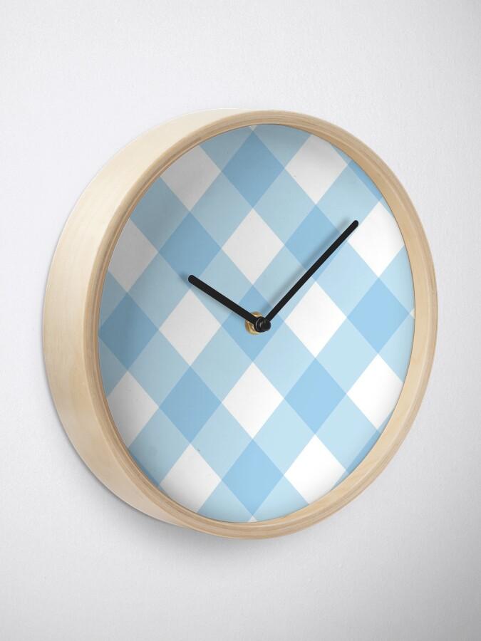 Alternate view of Modern Blue  Gingham Pattern Clock