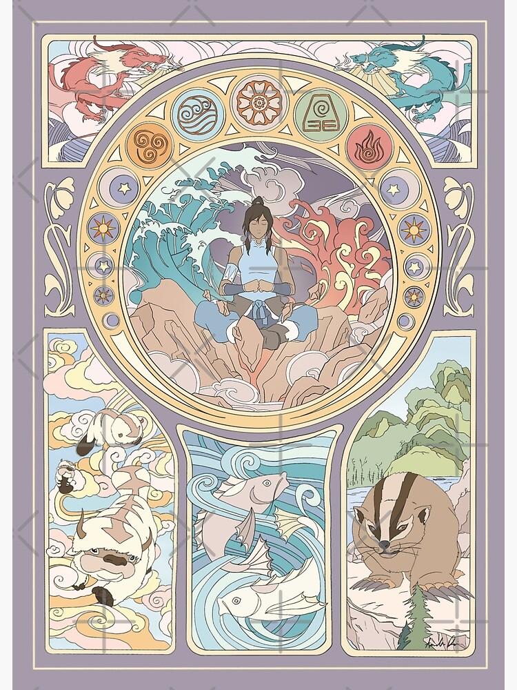 Avatar Korra and Original Benders, Art Nouveau by iypuff123