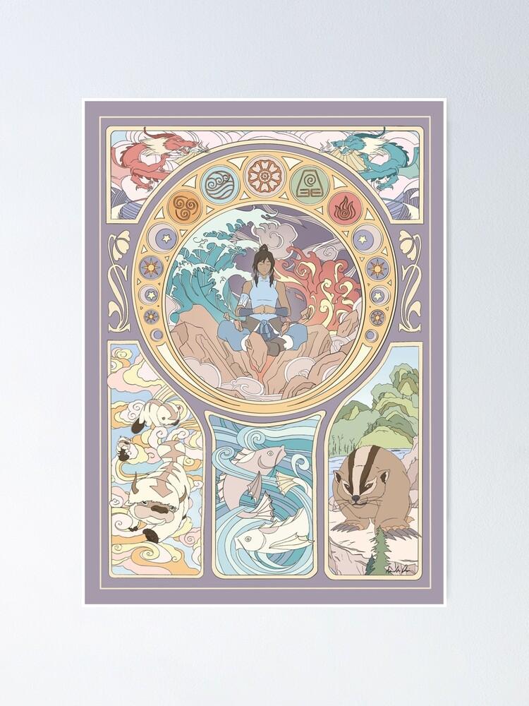 Alternate view of Avatar Korra and Original Benders, Art Nouveau Poster