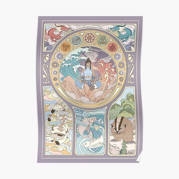 Avatar Korra and Original Benders, Art Nouveau Poster