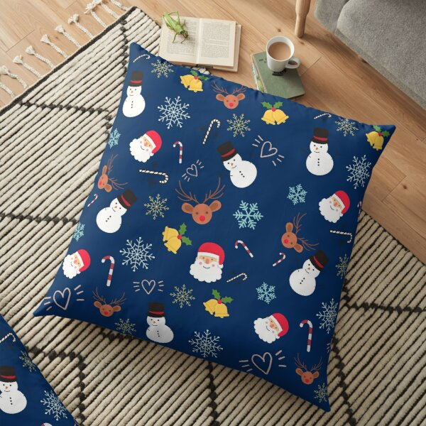 Cute Christmas Pattern | Santa, Jingle Bells, Snowman Floor Pillow