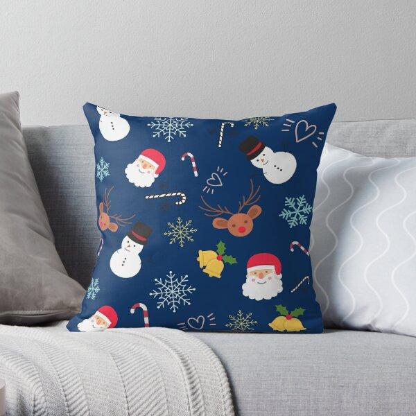 Cute Christmas Pattern | Santa, Jingle Bells, Snowman Throw Pillow