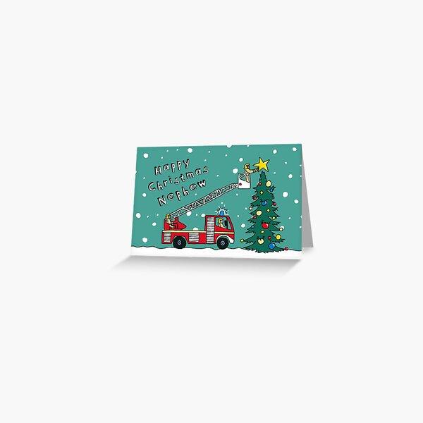 Nephew Fire Engine Christmas Card Greeting Card