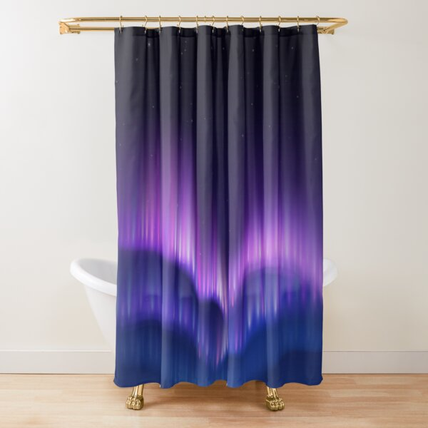 Purple Blue Haze Sky - Polar Lights Shower Curtain