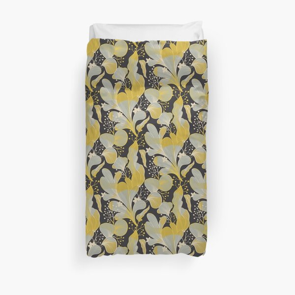 Vintage mustard yellow botanical pattern Duvet Cover