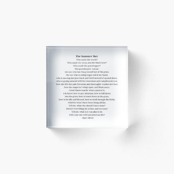 Mary Oliver Summer Day Poem Acrylic Block