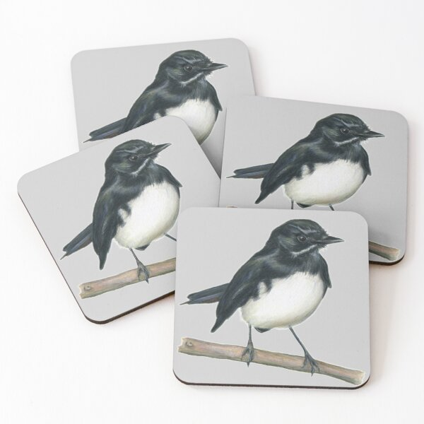 Willie Wagtail Bird Art Coloured backgrounds Coasters (Set of 4)