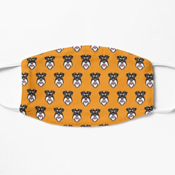 Silver & Black schnauzer pattern on orange background Flat Mask