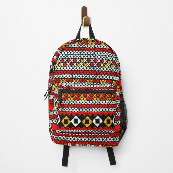 Red Cross Stitch Textile Backpack