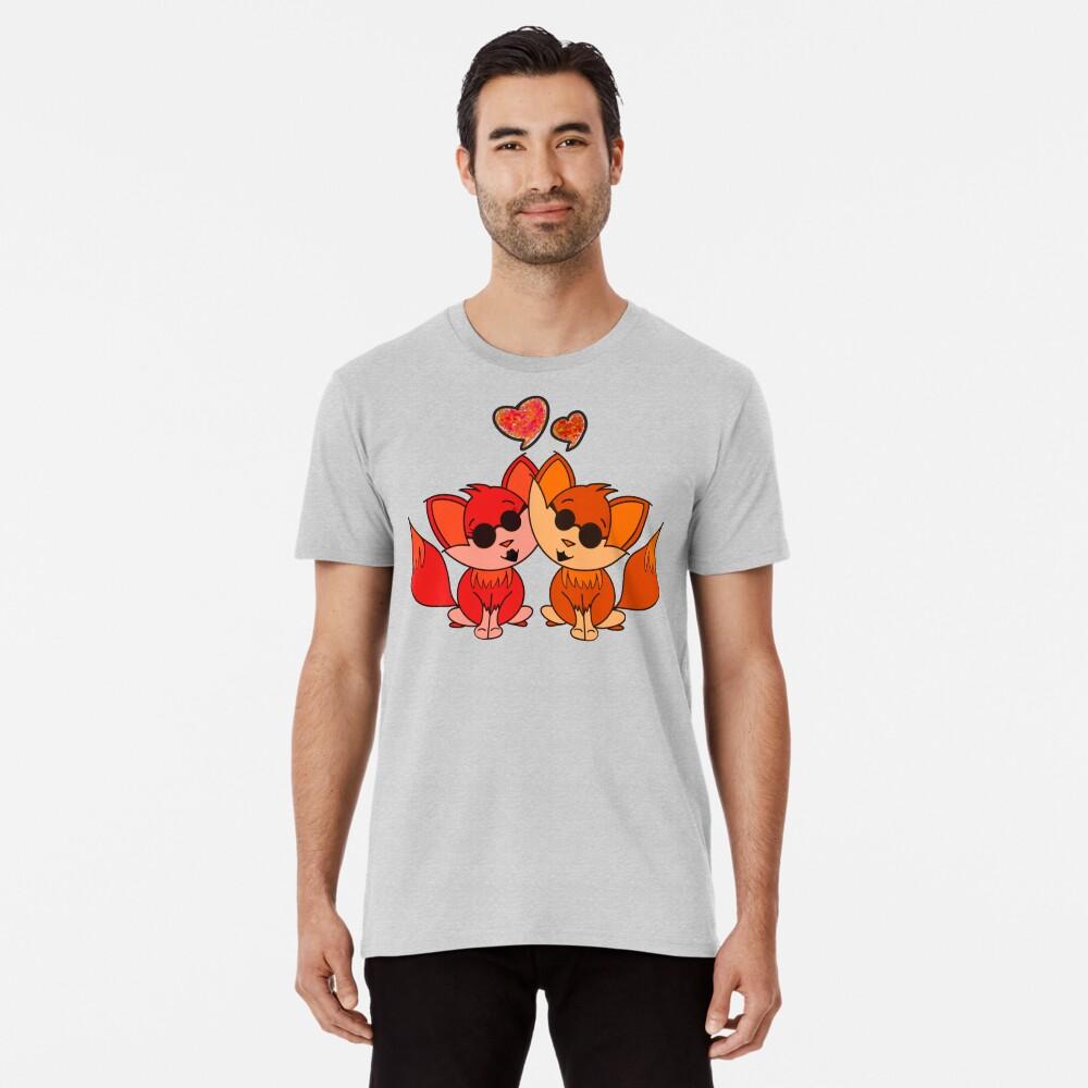Cute Cool Foxes Couple Orange Premium T-Shirt
