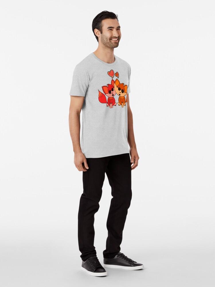 Alternate view of Cute Cool Foxes Couple Orange Premium T-Shirt