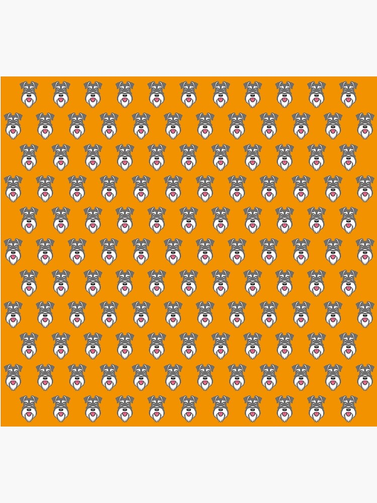 Salt & Pepper schnauzer pattern on orange background by stevewilsonwda