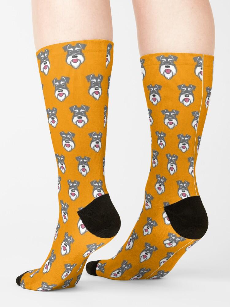 Alternate view of Salt & Pepper schnauzer pattern on orange background Socks