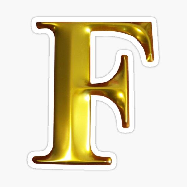 3D Letter F in gold colour Sticker