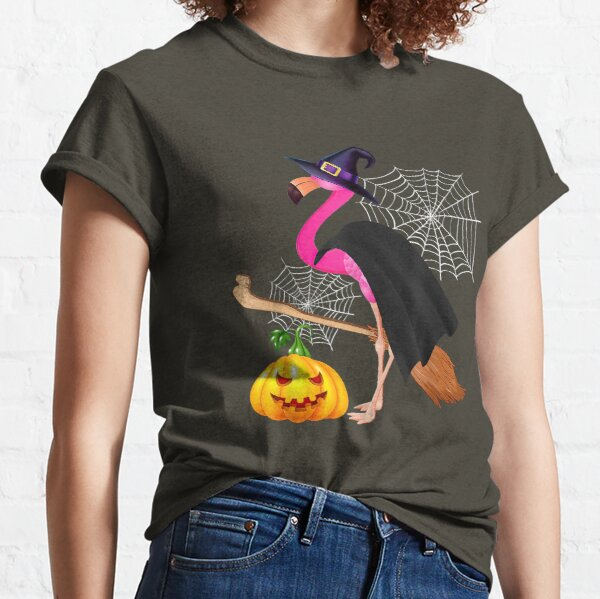 Flamingo Witch Easy Halloween Pumpkin Costume Classic T-Shirt