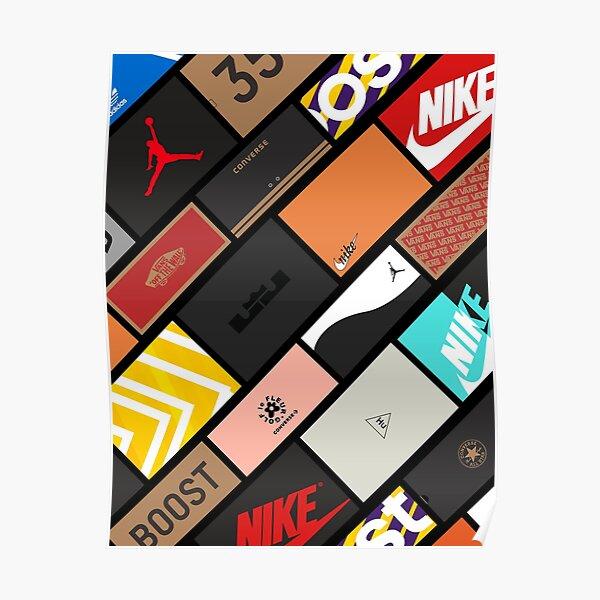 Collage de cajas de zapatillas Póster