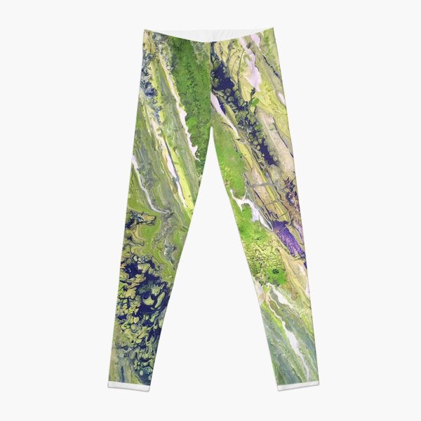 Contemporary Modern Art Design Green, White, Blue Paint Pours Leggings
