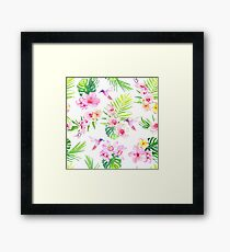 Hummingbirds and tropical flowers seamless vector pattern Framed Print