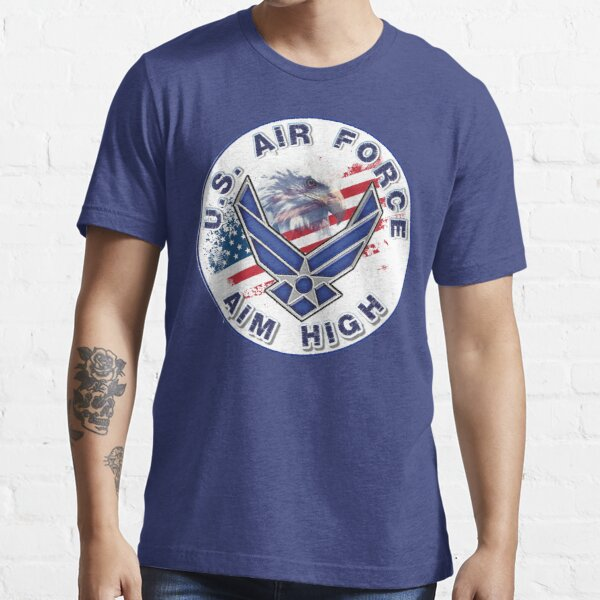 U.S. Air Force Aim High Logo with Flag and Eagle. Essential T-Shirt