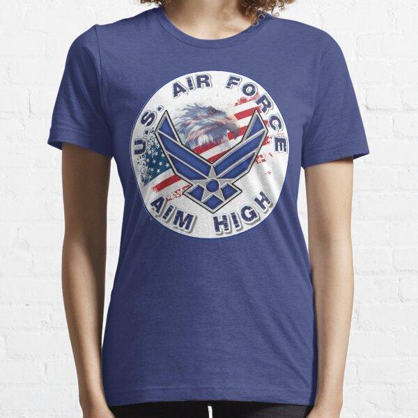 U.S. Air Force Aim High Logo with Flag and Eagle. Essential T-Shirt
