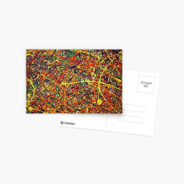 Abstract Jackson Pollock Painting Original Art Postcard